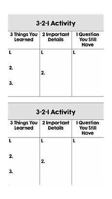 exit ticket 3 2 1 activity cards by the class helper tpt