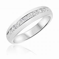 1 2 carat t w diamond men s wedding ring 14k white gold