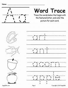 letter tracing worksheets c 23315 letter a words free alphabet tracing worksheet supplyme