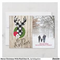 merry christmas with plaid deer head photo card zazzle com merry christmas merry photo cards