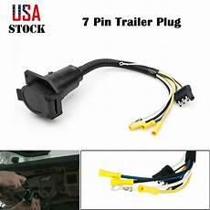 trailer wire adapter 4 flat to 7 way flat connector plastic wiring plug usa ebay