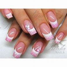 rosa nägel mit glitzer white tips with pink glitter liked on polyvore featuring