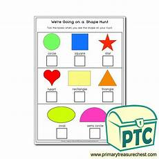 2d shapes worksheets reception 1254 shape hunt activity primary treasure chest
