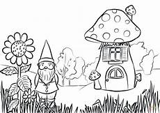 gnome in the garden coloring page free printable