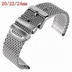 20mm 22mm Replacement Bracelet Band by 20mm 22mm 24mm Solid Link Stainless Steel Mesh Bracelet