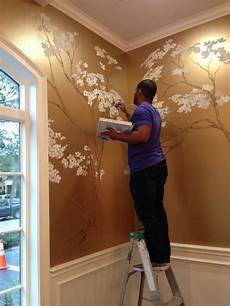 Painted Cherry Blossoms On Metallic Gold Wall So
