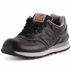new balance 574 womens leather black trainers new shoes