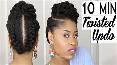 the 10 minute twisted updo natural hairstyle youtube