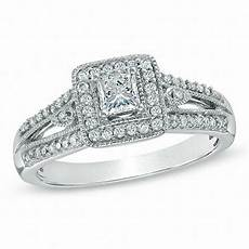 1 2 ct t w princess cut diamond vintage style engagement ring in 10k white gold princess
