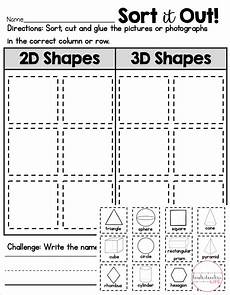 2d or 3d shape sort shape sort sorting printable worksheets