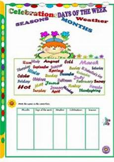 worksheets seasons and days of the week 14784 celebrations worksheets