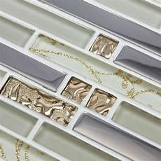 Discount Kitchen Backsplash Tile Interlocking Floot Tiles Gold Plating Glass Mosaic