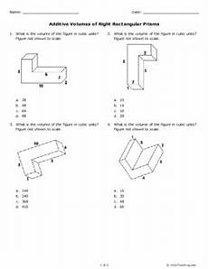 additive volumes of right rectangular prisms grade 5