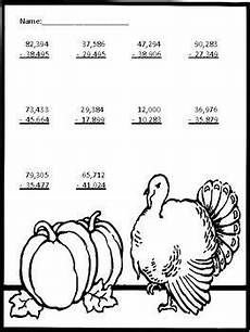 thanksgiving subtraction with regrouping worksheets 10720 turkey style 5 digit by 5 digit addition and subtraction with regrouping addition subtraction