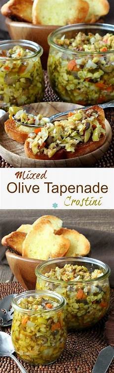mixed olive tapenade crostini is a classic recipe that can