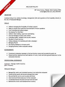11 sle resume for restaurant manager riez sle