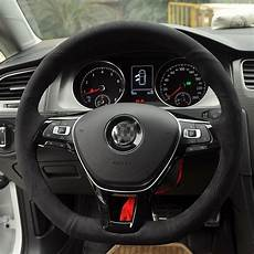 stitched black suede steering wheel cover for
