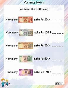 money worksheet for grade 2 india 2644 currency notes math worksheets mathsdiary