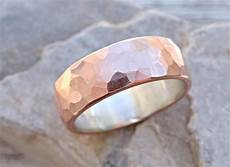 wide mens wedding band copper silver cool mens ring rustic