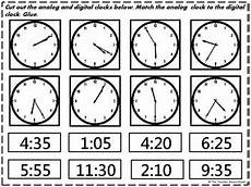 time worksheets matching digital to analog 3088 cut and paste digital clocks and activities on