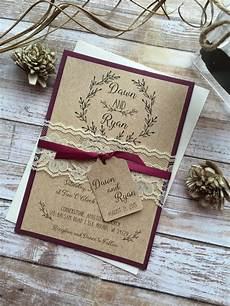country wedding invitations rustic wedding invitation burgundy wedding invitation lace