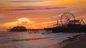 Stock Video Of Santa Monica California Sunset On Pier