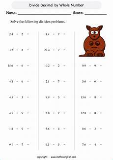 math worksheets grade 4 decimals 7447 divide these decimal by whole numbers grade 4 math decimal division worksheet with primary math