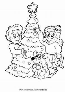 kinder schmuecken christbaum weihnachten ausmalen