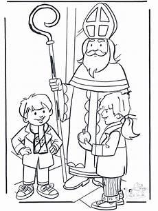 Ausmalbild Bischof Nikolaus Sinterklaas Met Kinderen Kleurplaten Sint