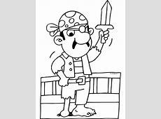 Kleurplaat Piraat met zwaard en houten been   Kleurplaten.nl