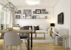 wohnzimmer mit küche ideen kleines wohnzimmer mit essplatz in wei 223 schwarz und holz interior wohn esszimmer kleines
