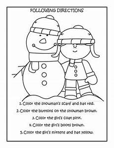 winter theme pre k following directions worksheets by sutherland
