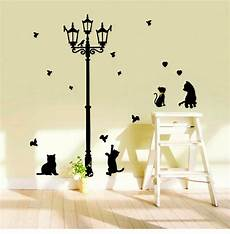 large baby black cat streelight silhouette wall stickers decals anime diy wallpaper mural