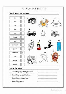 vocabulary matching worksheet elementary 1 7 worksheet free esl printable worksheets made by