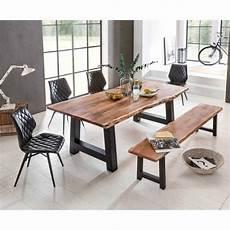 esstischgruppe mit bank esstischgruppe sadello mit baumkanten tisch und bank 6