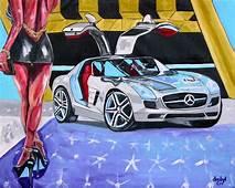 Mercedes Gullwing Car Original Art PAINTING Artist DAN BYL