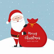 santa claus sack merry christmas gretting text snowy background vector premium download