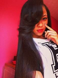 side part sew in with a swooped bang hairstyles pinterest follow me bangs and sew