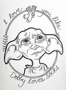 harry potter fan illustration print dobby the house