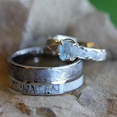 unique wedding ring meteorite engagement ring and band jewelry by johan