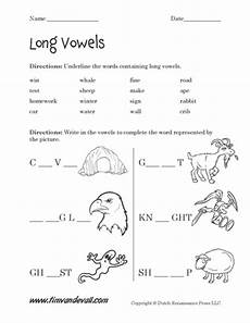 free long vowel worksheets langugae arts printables