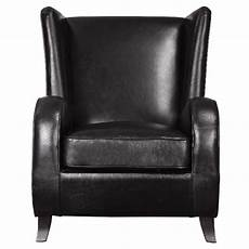 Black Faux Leather Accent Chair With Wingback Design