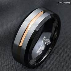 8mm silver brushed black edge tungsten ring gold stripe atop mens wedding band ebay