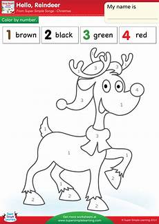 free simple color by number worksheets 16325 hello reindeer worksheet color by number simple