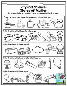 physical science elementary worksheets 13072 physical science states of matter this is a great exercise for third grade also there are