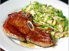 Dinner Tonight: Pork Chops with Shaved Brussels Sprouts