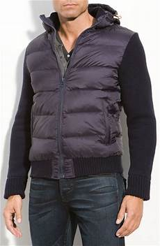 scotch soda puffer vest with hooded sweater inset in