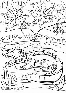 coloring pages of nature and animals 16380 coloring pages animals alligator sits in the lake stock vector illustration of