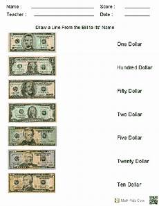matching us currency to their names worksheets homeschool discount pinterest worksheets