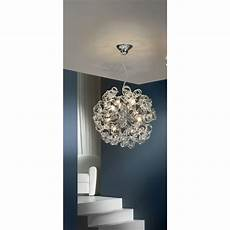 Luminaire Suspension Design Chrome Et Spirales De Verre